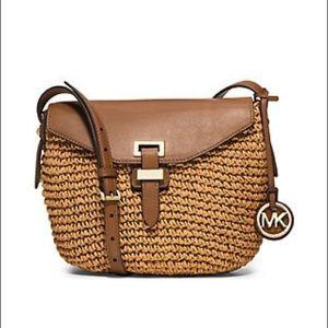 Michael Kors Naomi Woven Straw Crossbody Bag